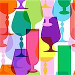 Colorful  limpid wine glasses. Seamless pattern (vector EPS 10) Stock Photo - Royalty-Free, Artist: OlgaDrozd                     , Code: 400-05890203