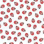 Seamless ladybug pattern. Illustration of a designer on a white background Stock Photo - Royalty-Free, Artist: dvarg                         , Code: 400-05890676