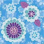Funny small and large floral on blue background. Vintage inspired blue, green and purple flowers. Ideal for fabric   Vector illustration Stock Photo - Royalty-Free, Artist: fandorina                     , Code: 400-05891054