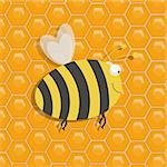 Illustration of a large honeybee over a honeycomb background Stock Photo - Royalty-Free, Artist: darrenwhi                     , Code: 400-05891263