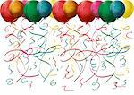 multicolored balloons and confetti on white background. vector illustration Stock Photo - Royalty-Free, Artist: BooblGum                      , Code: 400-05891293
