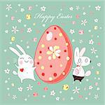 funny Easter egg with bunnies on a green background with flowers Stock Photo - Royalty-Free, Artist: tanor                         , Code: 400-05891643