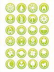 set of 21 green nature signs