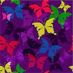 Seamless dark violet pattern with transparent colorful butterflies (vector EPS 10)
