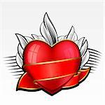 Valentine day heart with red ribbon and leaves on background Stock Photo - Royalty-Free, Artist: zybr                          , Code: 400-05893325