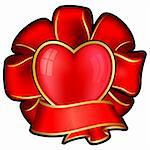Red bow with heart and ribbon for valentine's day Stock Photo - Royalty-Free, Artist: zybr                          , Code: 400-05893326