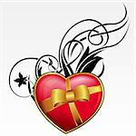 Red heart with bow and ribbon for valentine's day Stock Photo - Royalty-Free, Artist: zybr                          , Code: 400-05893327