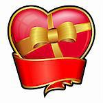 Valentine day heart with red ribbon and bow Stock Photo - Royalty-Free, Artist: zybr                          , Code: 400-05893333