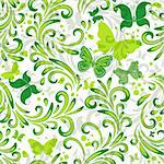 White repeating floral pattern with green curls and butterflies (vector EPS 10) Stock Photo - Royalty-Free, Artist: OlgaDrozd                     , Code: 400-05893921