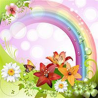 Springtime background with flowers and butterflies Stock Photo - Royalty-Freenull, Code: 400-05894187