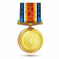 Gold medal with ribbon on white Stock Photo - Royalty-Freenull, Code: 400-05894192