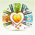 Valentine's day card. Heart with daisy and butterfly Stock Photo - Royalty-Free, Artist: Merlinul                      , Code: 400-05894203