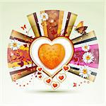 Valentine's day card. Heart with daisy and butterfly Stock Photo - Royalty-Free, Artist: Merlinul                      , Code: 400-05894204