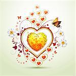 Valentine's day card. Heart with daisy and butterfly Stock Photo - Royalty-Free, Artist: Merlinul                      , Code: 400-05894205