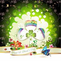 St. Patrick's Day card design with clover Stock Photo - Royalty-Freenull, Code: 400-05894213