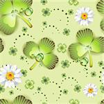 Seamless pattern with clover and flowers for St. Patrick's Day Stock Photo - Royalty-Free, Artist: Merlinul                      , Code: 400-05894215