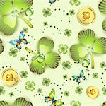 Seamless pattern with clover and coins for St. Patrick's Day Stock Photo - Royalty-Free, Artist: Merlinul                      , Code: 400-05894216