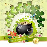 St. Patrick's Day card design with clover and coins Stock Photo - Royalty-Freenull, Code: 400-05894218