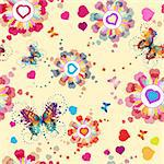 Seamless pattern with hearts and butterflies for Valentine's day Stock Photo - Royalty-Free, Artist: Merlinul                      , Code: 400-05894221