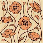 Decorative poppies background. Vector illustration with clipping mask.