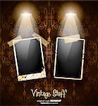 Antique distressed photoframes with old dirty look on a vintage seamless wallpaper. Frames are featured by led spotlights.Shadows are transparent. Stock Photo - Royalty-Free, Artist: DavidArts                     , Code: 400-05894918