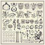 vector set of heraldic elements Stock Photo - Royalty-Free, Artist: pathique                      , Code: 400-05895876