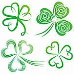 Set of green shamrock. Group of clover vector. St. Patrick's Day. Irish illustration. Stock Photo - Royalty-Free, Artist: svetap                        , Code: 400-05896059