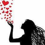 Woman silhouette hand. Pretty girl blowing heart. Drawing background. Vector illustration. Stock Photo - Royalty-Free, Artist: svetap                        , Code: 400-05896065