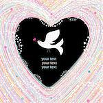 graphic decorative background with heart and love bird Stock Photo - Royalty-Free, Artist: tanor                         , Code: 400-05896649