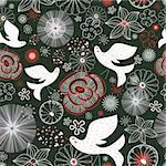 Seamless floral pattern with white birds on the dark green background Stock Photo - Royalty-Free, Artist: tanor                         , Code: 400-05896653
