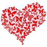 Large pink romantic heart with red butterflies. Isolated on white. (Vector) Stock Photo - Royalty-Free, Artist: OlgaDrozd                     , Code: 400-05896917