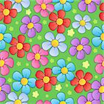 Flowery seamless background 1 - vector illustration. Stock Photo - Royalty-Free, Artist: clairev                       , Code: 400-05897084