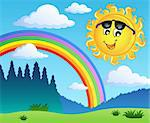 Landscape with rainbow and Sun 1 - vector illustration. Stock Photo - Royalty-Free, Artist: clairev                       , Code: 400-05897106
