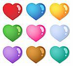 Various color hearts collection 1 - vector illustration. Stock Photo - Royalty-Free, Artist: clairev                       , Code: 400-05897123