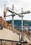 Works of tower cranes on construction of a dam on the Angara River Stock Photo - Royalty-Free, Artist: Stavrida                      , Code: 400-05898370