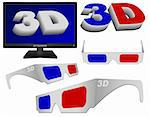 Technology - 3D Sign, Glasses and TV Set Collection Stock Photo - Royalty-Free, Artist: jamdesign                     , Code: 400-05898438