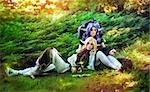 Elf boy and elf girl stayng near the tree Stock Photo - Royalty-Free, Artist: Fotolit                       , Code: 400-05898862