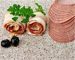 Sliced Raw Bacon Rolls And Salami, Close Up Shot Stock Photo - Royalty-Free, Artist: svetlanna                     , Code: 400-05898915