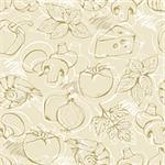 Background from hand-drawn pizza ingredients on a beige in vintage style Stock Photo - Royalty-Free, Artist: fandorina                     , Code: 400-05899755