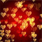 golden red hearts over red background with feather center Stock Photo - Royalty-Free, Artist: marinini                      , Code: 400-05900158