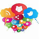 Social network symbols in speech balloons Stock Photo - Royalty-Free, Artist: soleilc                       , Code: 400-05900904