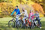 Young family on bicycles