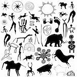 Various drawings - primitive art - cave paintings - vector. This file is vector, can be scaled to any size without loss of quality. Stock Photo - Royalty-Free, Artist: lamich                        , Code: 400-05902032