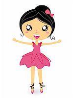 Cute ballet dancer girl. Vector cartoon Illustration Stock Photo - Royalty-Freenull, Code: 400-05902040
