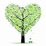Valentine tree with hearts leaves and birds Stock Photo - Royalty-Free, Artist: inbj                          , Code: 400-05902206