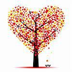 Valentine tree with hearts leaves and birds Stock Photo - Royalty-Free, Artist: inbj                          , Code: 400-05902207