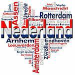 Written Nederland and Dutch cities with heart-shaped, Dutch flag colors Stock Photo - Royalty-Free, Artist: catalby                       , Code: 400-05902300