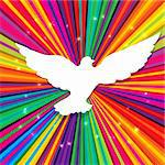 Dove silhouette on psychedelic colored abstract background. Vector, EPS10 Stock Photo - Royalty-Free, Artist: pashabo                       , Code: 400-05902397