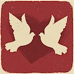 Two lovers doves. Retro styled illustration, vector, EPS10 Stock Photo - Royalty-Free, Artist: pashabo                       , Code: 400-05902410