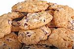 Mound of home-made chocolate and butterscotch chip cookies against a white background Stock Photo - Royalty-Free, Artist: sgoodwin4813                  , Code: 400-05902446